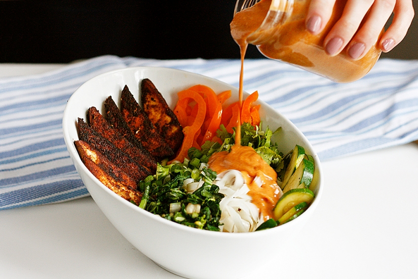 Veggie-Packed Noodle Bowl with Tofu Steaks and Peanut Sauce